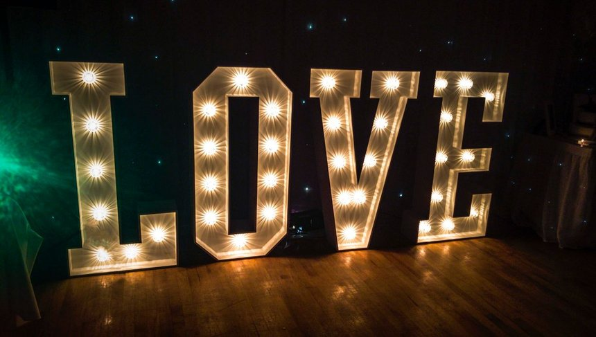 Light Up giant LOVE Letters - available to hire in Northern Ireland